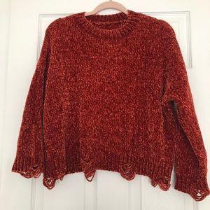 Sweaters - Rust velvet sweater